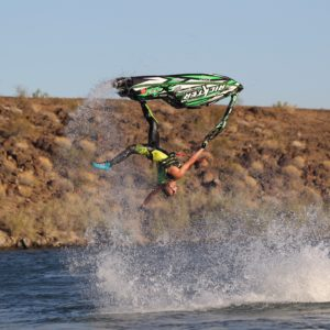 Tanner Tanman Thomas inverted on JetSki in water